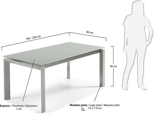 Eettafel kila rechthoek verlengbaar tot cm grijs glas la
